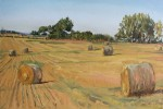 Haybales as sunset wanes.-Oil on canvas 40x30cm